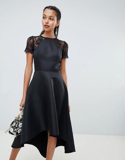 petite robe noire pour mariage avec dentelle et satin