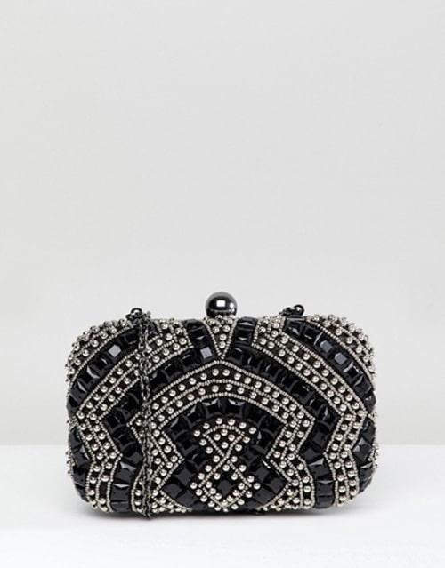 pochette minaudiere mariage noire avec perles