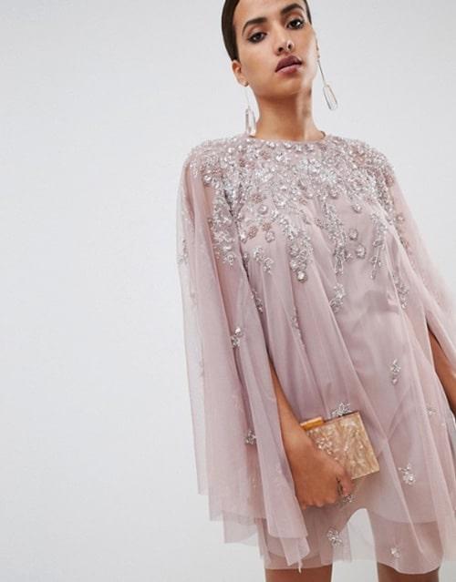 robe pour invitee de mariage avec broderie et sequins couleur rose pale