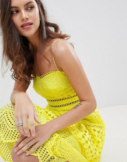 robe de demoiselle honneur jaune vif