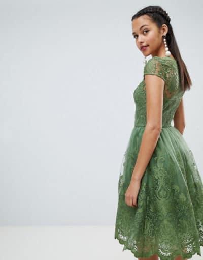 robe en dentelle verte pour mariage