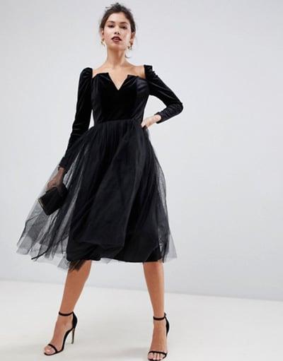 robe en velours noir pour mariage