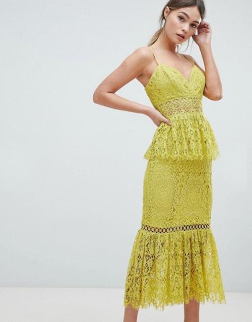 robe invitee de mariage jaune vif