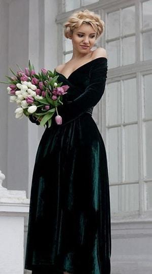 robe invitee de mariage hiver en velours