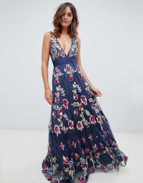 robe longue bel avec broderies pour demoiselle dhonneur et invitee de mariage