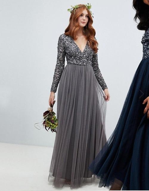 robe longue grise pour invitee de mariage avec sequins et perles