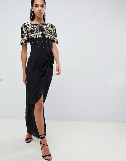 robe noire pour invitée de mariage avec broderies argent or