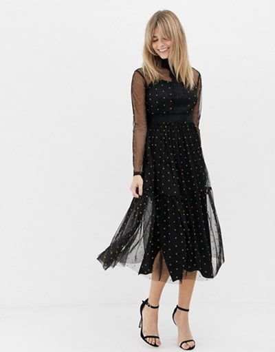 robe noire pour mariage chic