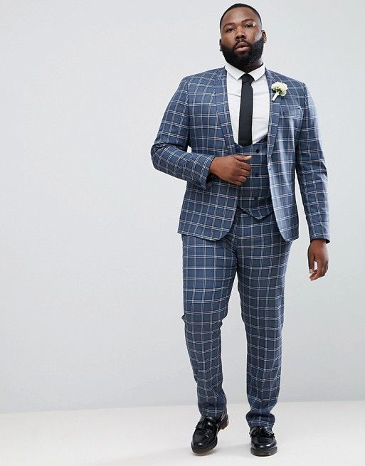 costume de mariage grande taille bleu carreaux