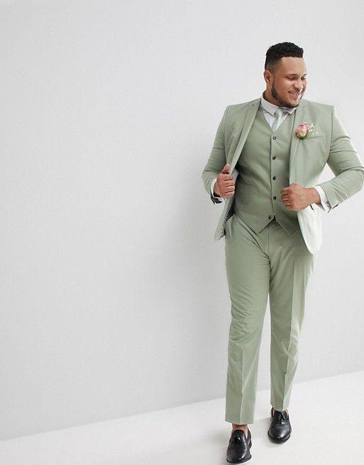 costume de mariage homme vert clair grande taille