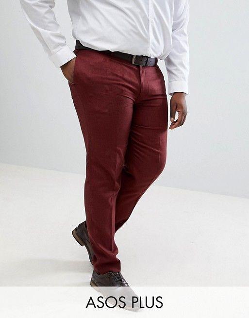 pantalon grande taille homme pour mariage rouge fonce