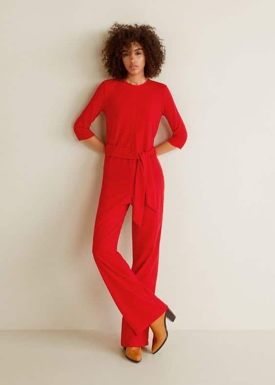 combi pantalon de mariage rouge