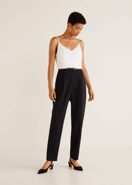 combinaison pantalon femme noir et blanche pour mariage chic