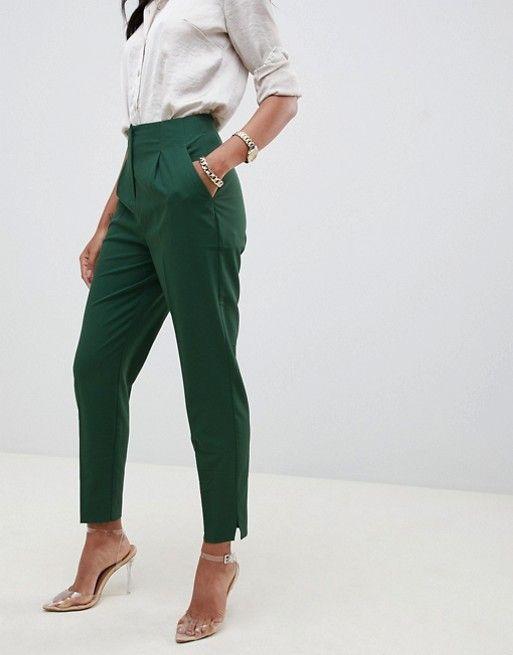 pantalon cigarette vert pour mariage