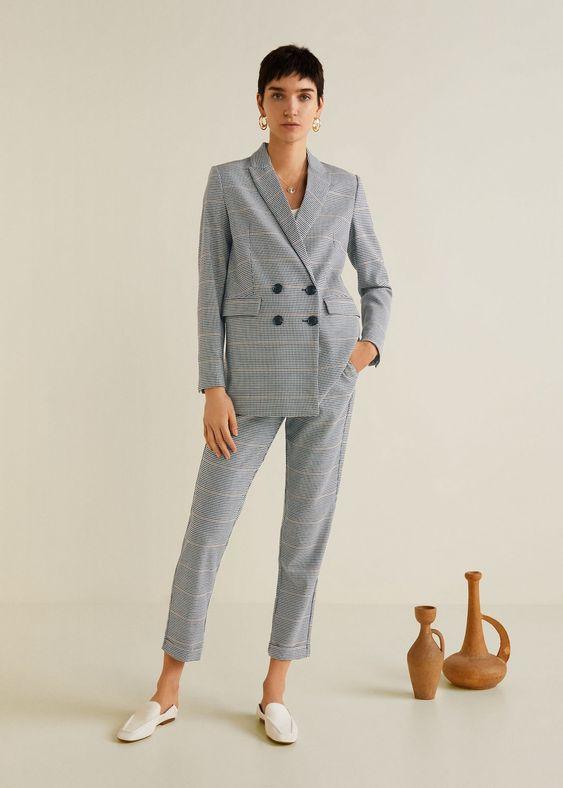 pantalon de costume pour femme gris pied de poule