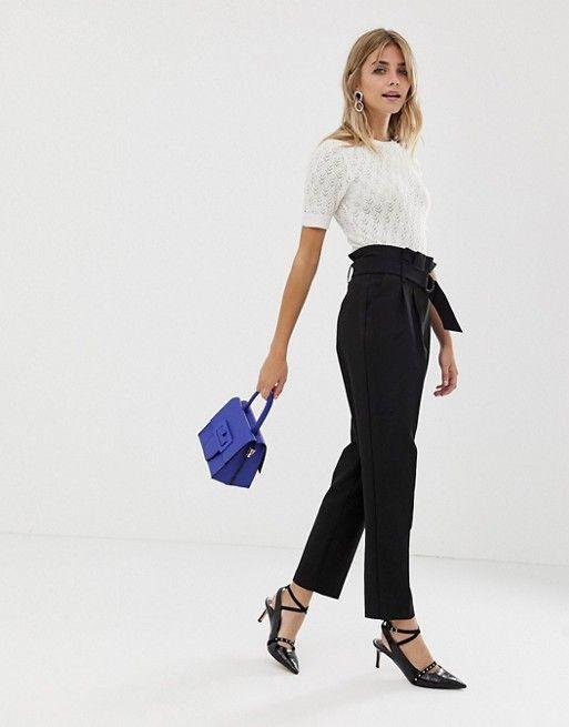 pantalon noir capri ceinture