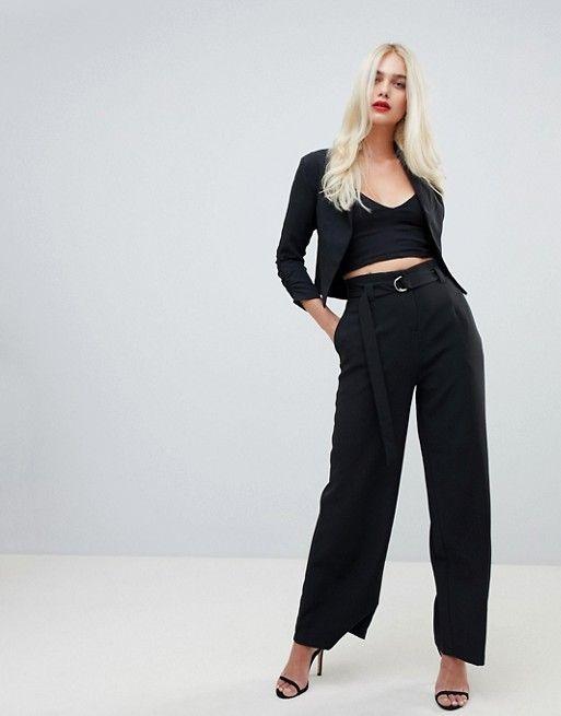 pantalon noir chic pour mariage large a taille plissee et ceinture