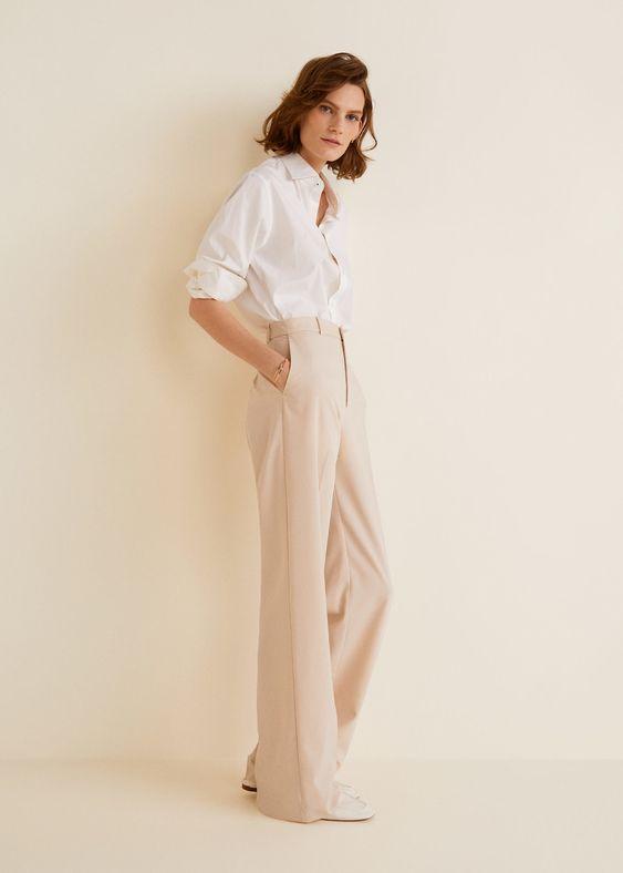 pantalon palazzo taille haute pour femme mariage rose poudre