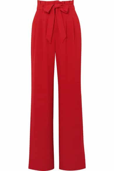 pantalon rouge large en crepe pour mariage alice plus olivia