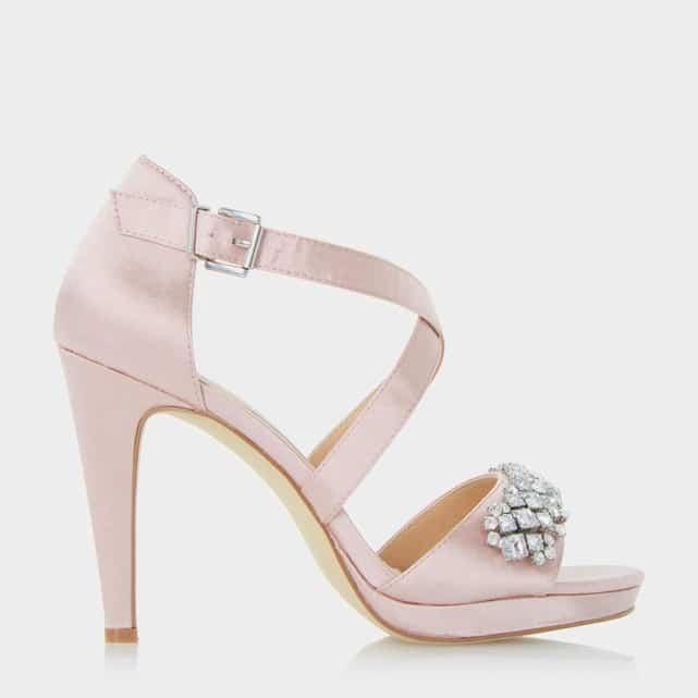 sandales a talons pour mariage en satin rose