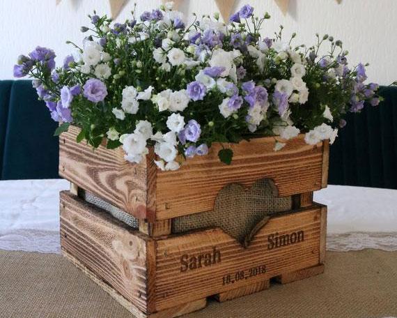 caisse de bois pour decoration de mariage chmapetre