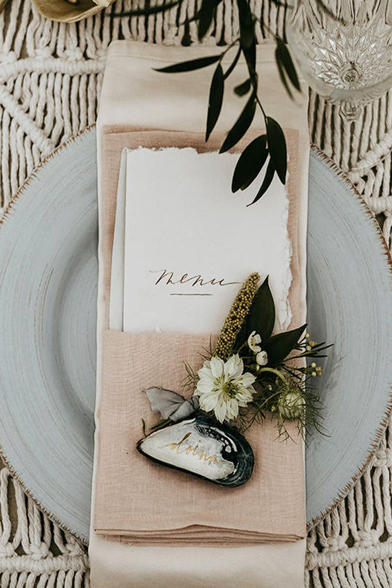 chemin de table en macramé pour table de mariage boheme