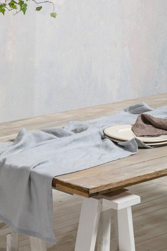 chemin de table mariage gris bleu
