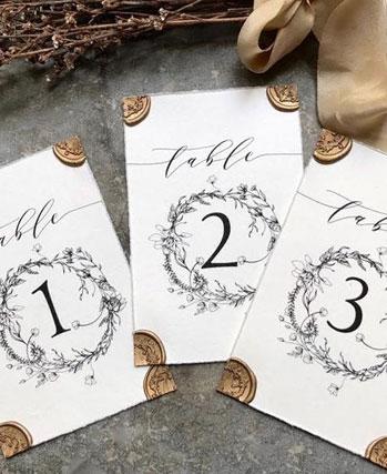 numero de table de mariage vintage