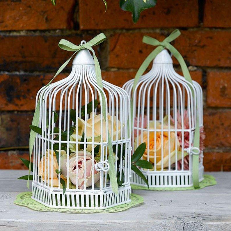 urne de mariage blanche cage a oiseaux