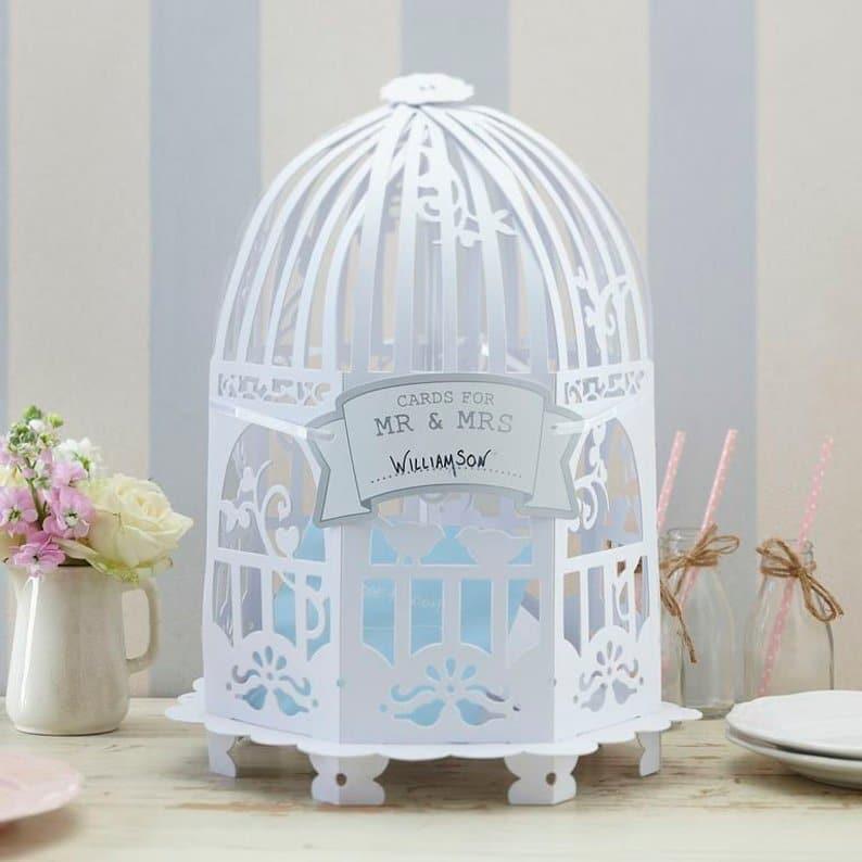 urne de mariage cage a oiseau blanche 2