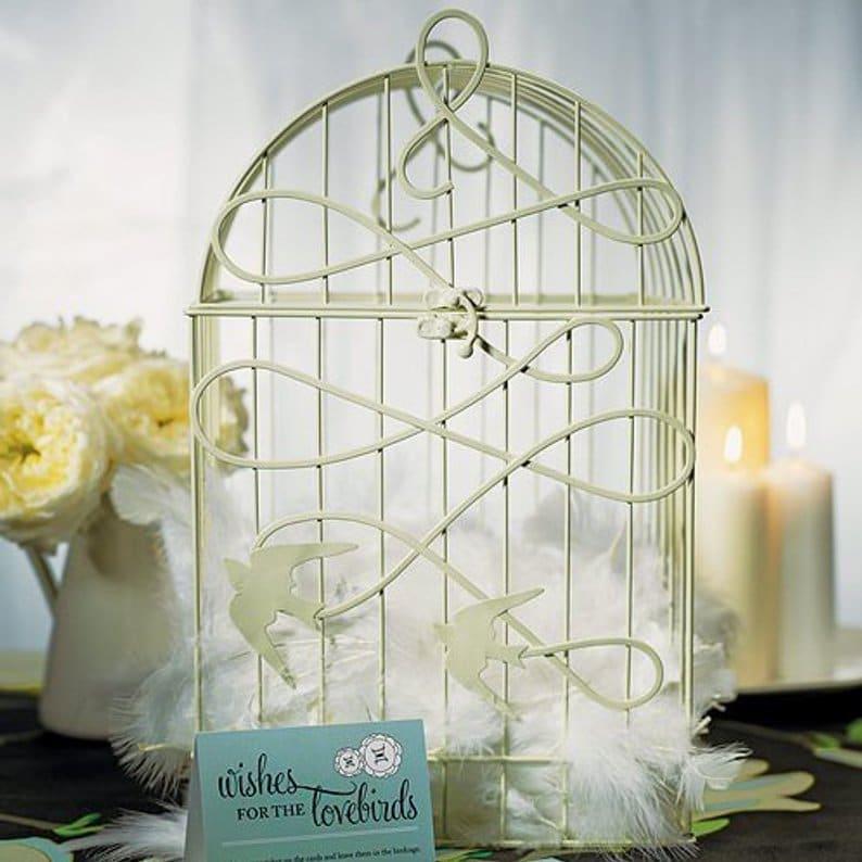 urne de mariage cage a oiseaux