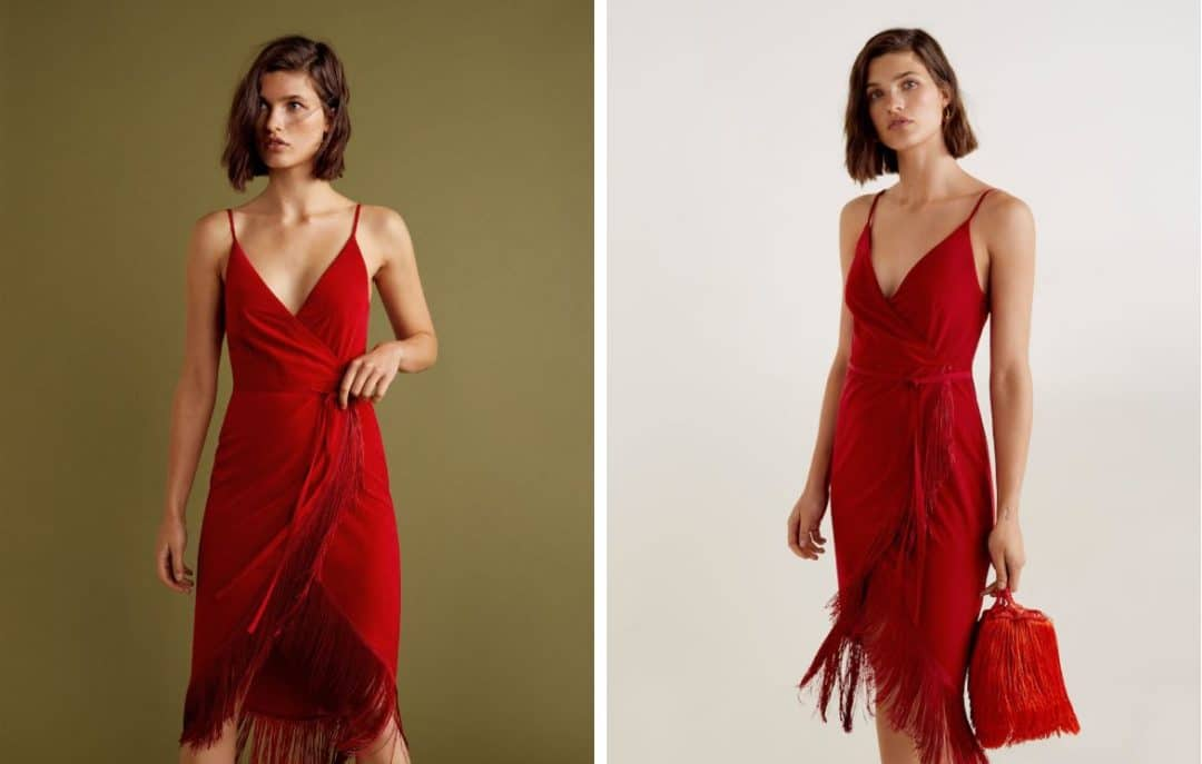 ROBE ROUGE MARIAGE A FRANGES