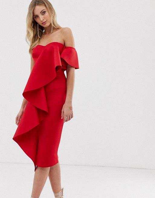 robe chic rouge invitee mariage a volants epaule denudees
