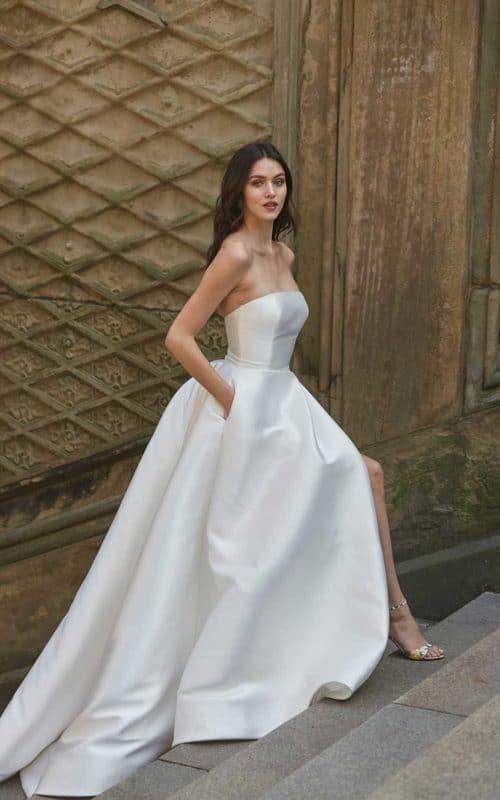 robe de mariee satin a poches monique lhuillier