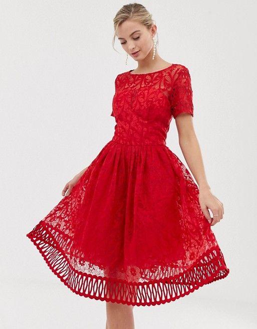 robe dentelle rouge pour invitee mariage