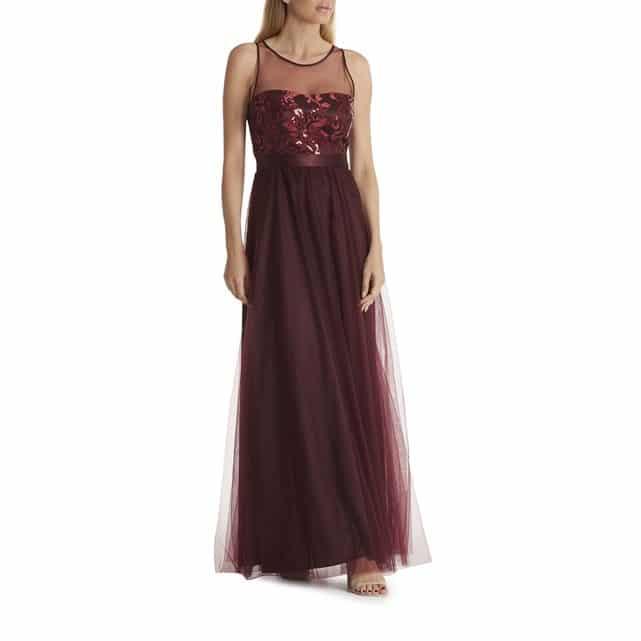 robe en tulle longue mariage rouge bordeaux