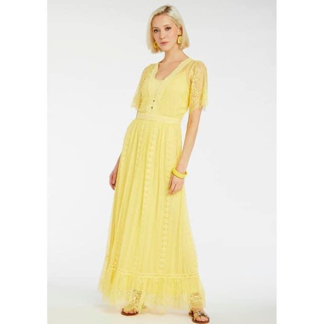 robe longue jaune pour mariage ete