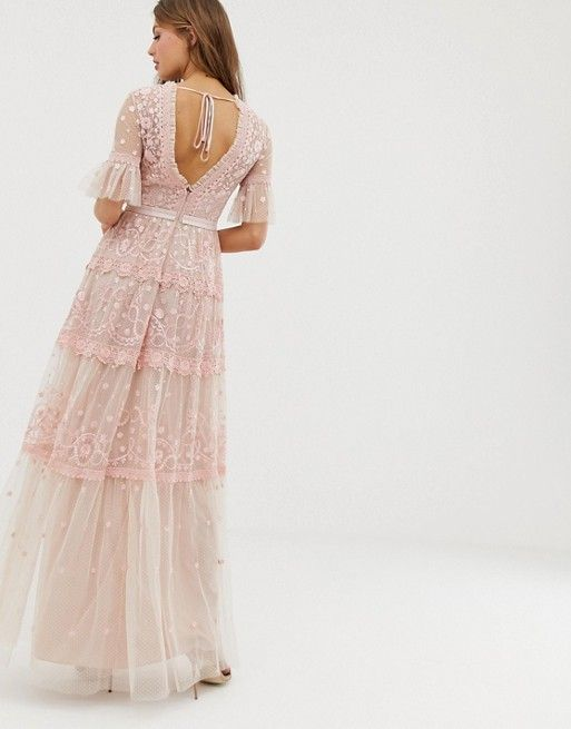 robe longue rose mariage boheme