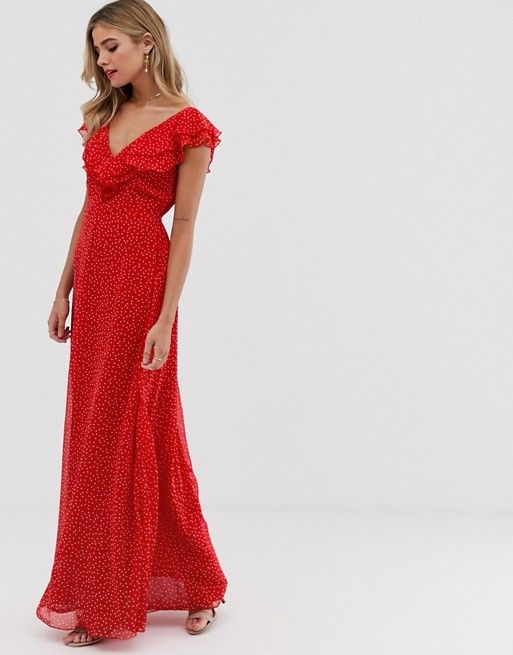 robe longue rouge pois flamenco invitee mariage