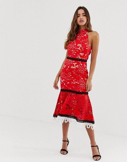 robe rouge et noir invitee mariage