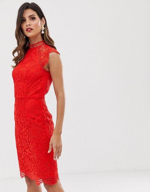 robe rouge fourreau chic mariage