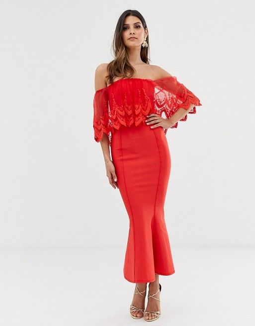 robe rouge invitee de mariage dentelle bardot style