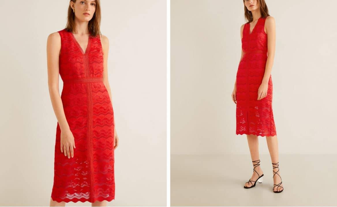 robe rouge vif mariage dentelle