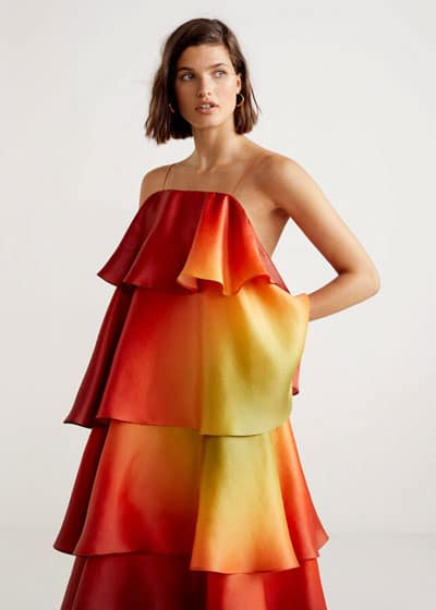 robe invitee de mariage jaune rouge orange degrade