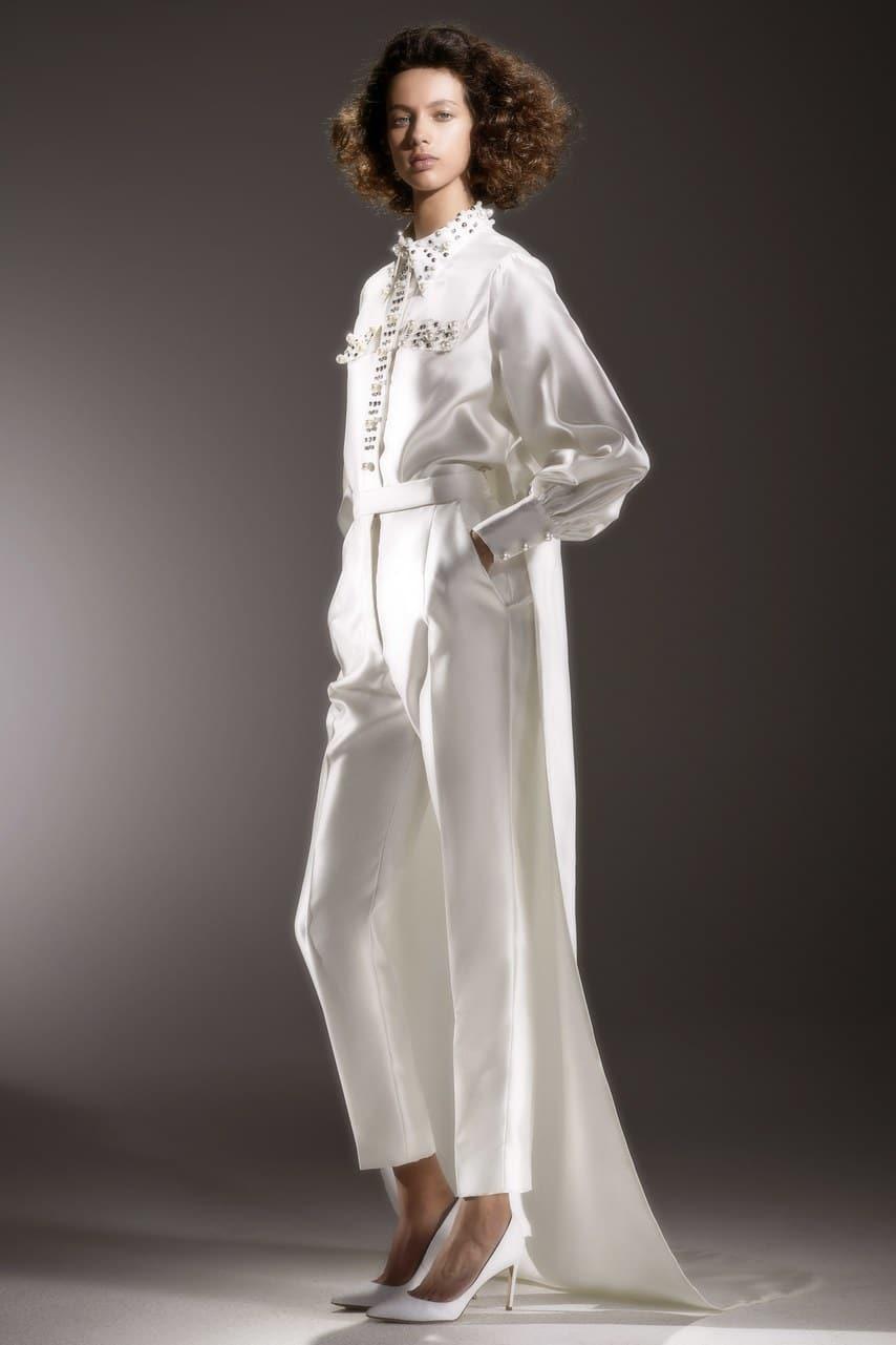 tailleur pantalon de mariee
