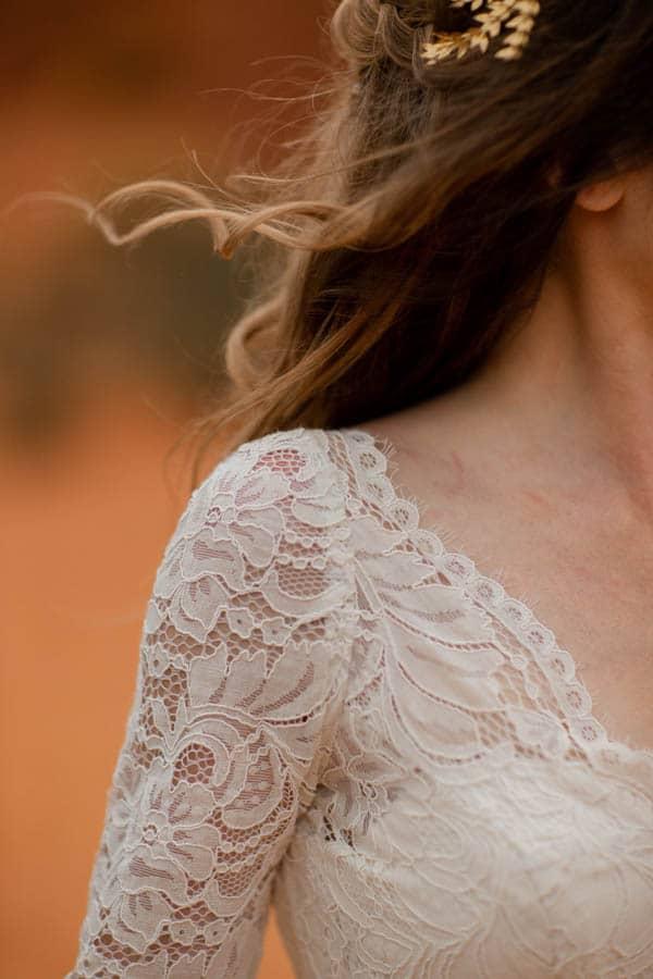 détail robe mariage inspiration colorado