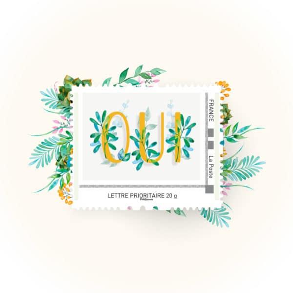 timbre de mariage original «Oui»