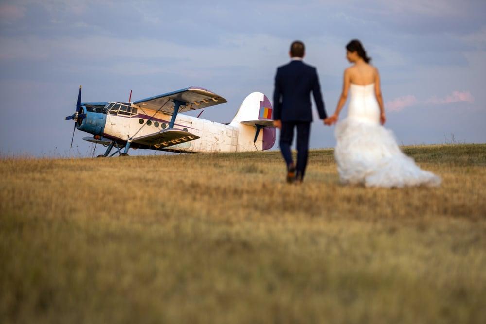 arrivée des mariés hélicoptère