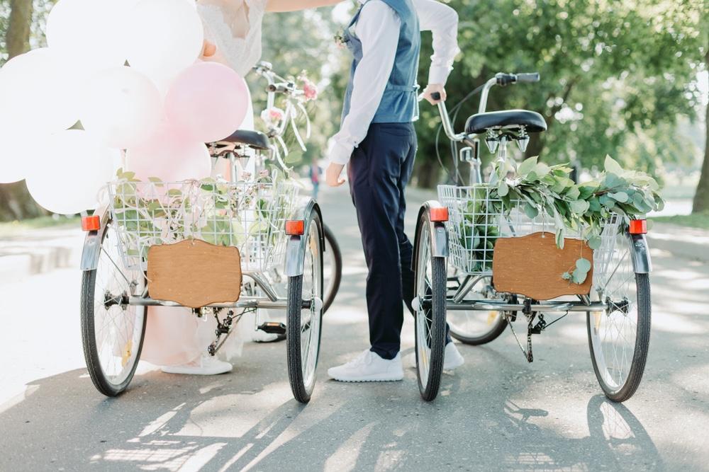 arrivée des mariés vélo