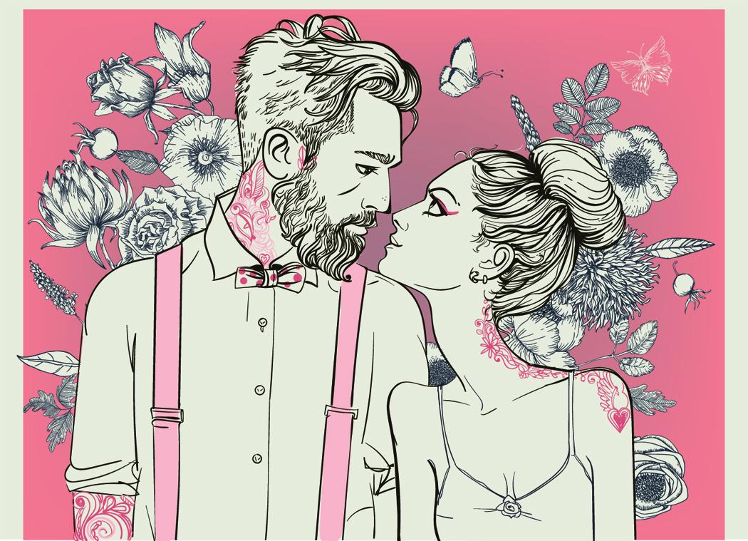 illustration couple de mariés pour faire part de mariage personnalise